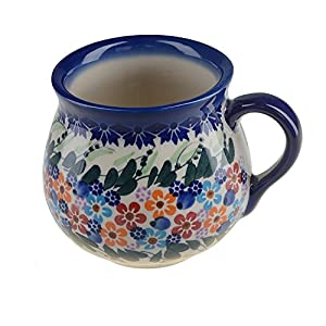 BCV Classic Boleslawiec, Polish Pottery Hand Painted Ceramic Mug, Barrel (300, U-008)