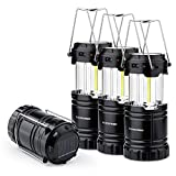 4 Pack Solar USB Rechargeable 3 AA Power Brightest COB LED Camping Lantern