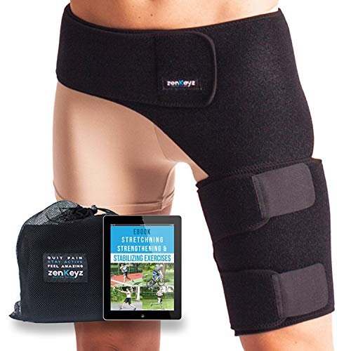 ZENKEYZ Groin Support and Hip Brace for Men & Women- Compression Wrap for Thigh Quad Hamstring Joints Sciatica Nerve Pain Relief Leg Strap (Pain In The Upper Thigh Hip Area)