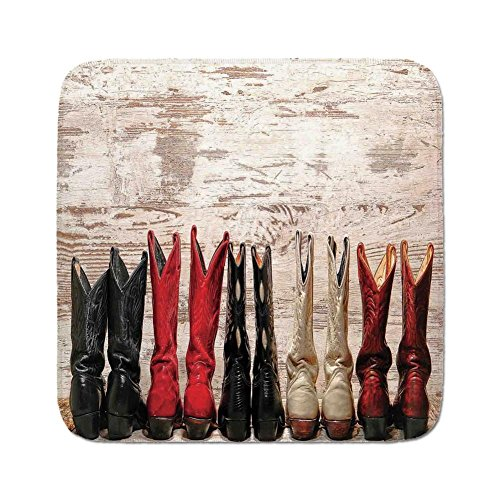 - Cozy Seat Protector Pads Cushion Area Rug,Western,American Legend Cowgirl Leather Boots Rustic Wild West Theme Folkart Print,Beige Red Black,Easy to Use on Any Surface