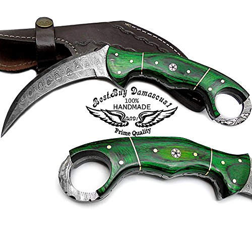 Beautiful Green Wood Fixed Blade Handmade Damascus Steel Hunting Knife 100% Top Quality