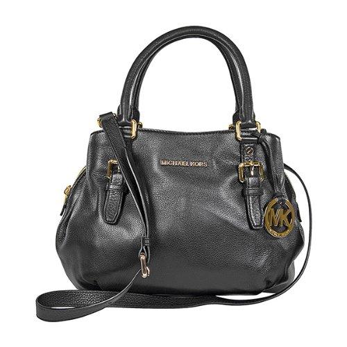Michael Kors Bedford Medium Black Leather Satchel Bag, Bags Central