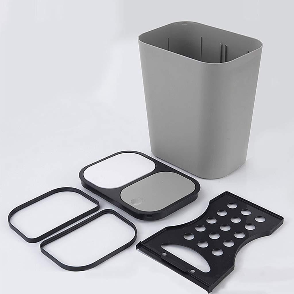 SimpleLife Contenedor de Basura Papelera de Reciclaje Ba/ño Cocina Basura Basura clasificada Papelera de Basura de Dos Clases Seca y h/úmeda con Tapa