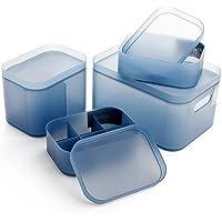 成琳 磨砂收纳盒 化妆品收纳盒 质感透明有盖收纳盒 组合整理盒 塑料储物盒套装(四件套)