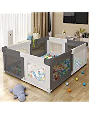 Playpen Baby Bassinet, Baby Play Yard, Large Fence, Berceau Bas , Crib Large, Indoor & Outdoor Fence, Stationary Activity Centres, Removable, Quick install, Skin-friendly Gauze, Suction Cups on Feets, Safe, Strong and Stable,71''Lx60''Wx27''H(180x150x68cm), Grey