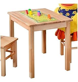 Kindermöbel holz natur  Kinder Sitzgruppe Holz Natur mit Kindertisch 60x60 cm und 2 ...