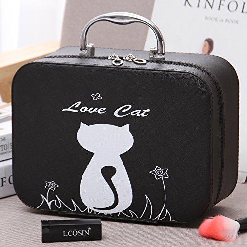 LULAN Kosmetiktasche Kosmetik, pack Cartoon sehr schön in der Hand gehaltene zugeben Tank kleine Party Tasche Kosmetik box Lippenstift organisieren, 25 * 11 * 18 cm, Pflanzen, Katzen und Schwarze Groß
