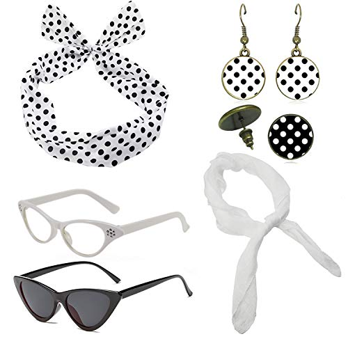 1950's Womens Costume Accessories Set - 50s Chiffon Scarf,Cat Eye Glasses,Bandana Tie Headband,Drop Dot Earrings (White) -