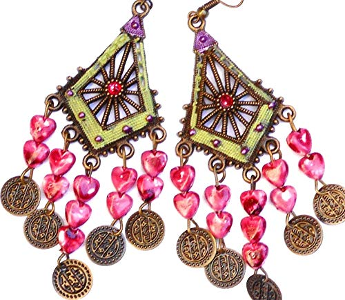 Colorful Boho Chandelier Dangle Earrings with Heart Shell Charms and Swarovski Crystal Rhinestones