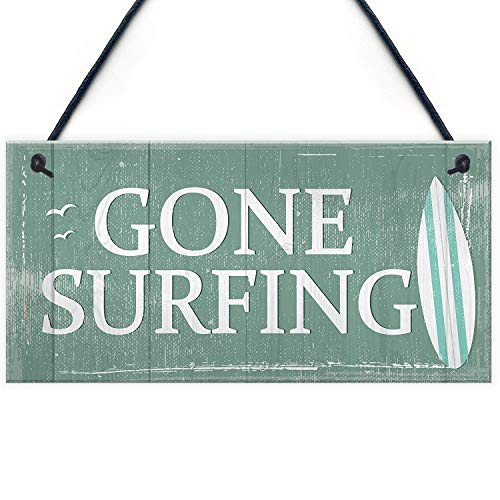 Meijiafei Gone Surfing Hanging Plaque Nautical Decor Beach Seaside Shabby Chic Home Sign Gift 10