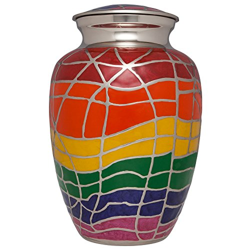Ansons Urns Rainbow Cremation Urn with Silver Accents – Funeral Urn for Human Ashes – Large Adult Size Burial Urn – 100 Brass – Up to 200 lbs