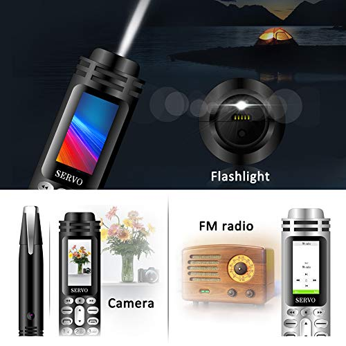 """Pen Mini Cell Phone Bluetooth Dialer 0.96"""" Tiny Screen Mobile Phone Support GSM Dual SIM Max 32G TF Card with Camera Flashlight FM Radio Music Player Rechargeable (Black)"""