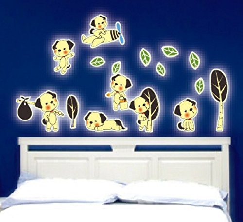 BINGNENG Glow in The Dark Stars Removalble DIY Cute Puppy Cartoon Wall Decal Luminous Light Wall Stickers Murals Home Art Decor for Kids Growth Babys Boys and Girls Bedroom Playroom - Pictures Baby Puppies