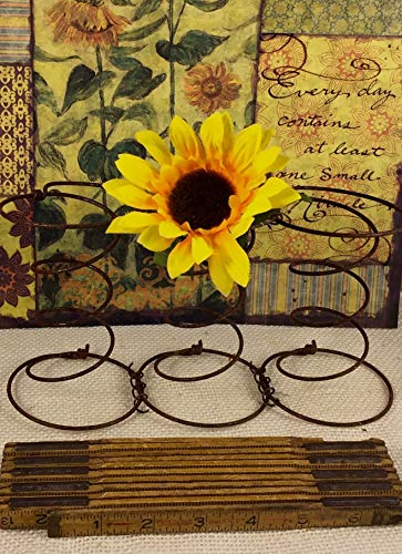 Three 3 Vintage Rusty Bed Springs Connected Rustic Primitive Country Cottage Upcycle Home Decor Element Craft Element Garden Pot.Candle Holder, Floral Wreath, Recycle, Repurpose, Antique from Rocky Mountain Wax Works