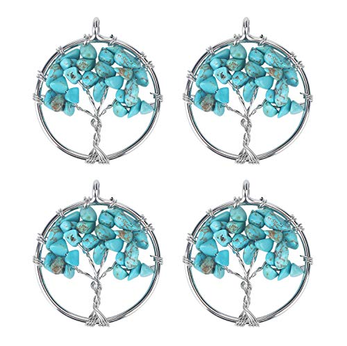 Wholesale 4 PCS Family Tree of Life Pendant Handmade Wire Wrapped Turquoise Crystal Chakra Bulk for Jewelry Making