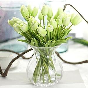 Julvie Fake Flowers Lifelike Artificial Tulip PU Flowers Wedding Home Decoration,Pack of 30 22