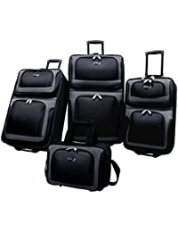 New Yorker Lightweight Expandable Rolling Suitcase Set 4-Piece, Black