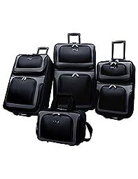 Traveler's Choice US Traveler New Yorker 4-Piece Luggage Set Expandable, Black, One Size