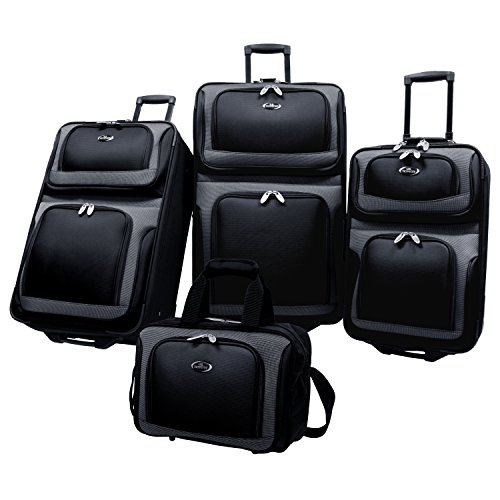 U.S Traveler New Yorker Lightweight Expandable Rolling Luggage 4-Piece Suitcases Sets - Black (4 Set Luggage Piece)