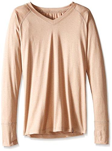 - Terramar Thermasilk Spun Silk V Neck Long Sleeve Tops, Camel Heather, Medium/(10-12)