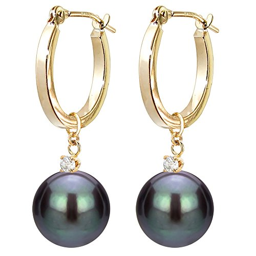 14k Yellow Gold 1/10cttw Diamond 8-8.5mm Black Freshwater Cultured Pearl Dangle Earrings for Women Jewelry by La Regis Jewelry