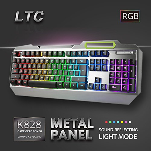 LeaningTech LTC K828 104 Key Anti-Ghosting RGB Programmable LED Backlit USB Wired Waterproof Gaming Keyboard with Voice Control Illuminated Function for PC Games Office – US Layout