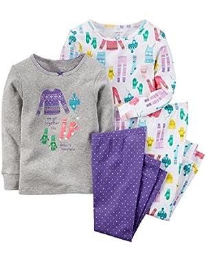 Girls' 4-Piece Snug Fit Cotton Pajamas (Toddler/Kid)