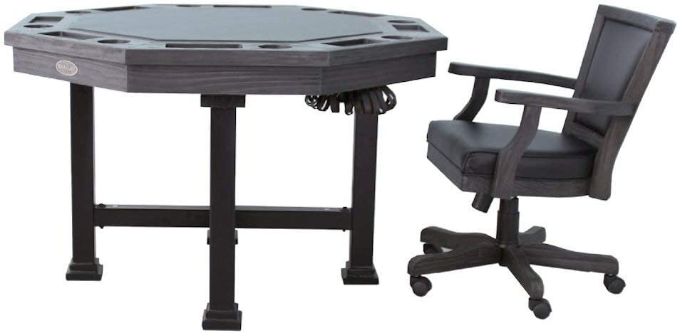 Octagon 54 Urban Bumper Pool with Slate Bed in Midnight w//4 Chairs 3 in 1 Table