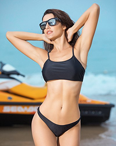 Funnygirl Womens Sexy Solid Bikini Set Swimwear Brazilian Padded Top High Cut Triangle Bottom 2 Pieces Swimsuit Black Small by Funnygirl (Image #2)