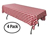 Toys : Pack of 4 Plastic Red and White Checkered Tablecloths - 4 Pack - Picnic Table Covers
