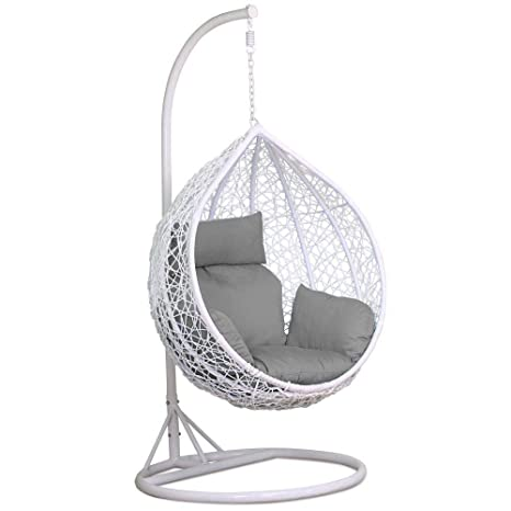 Sensational Yaheetech Rattan Swing Chair Hanging Garden Patio Indoor Outdoor Egg Chair With Stand Cushion And Cover White 150Kg Capacity Frankydiablos Diy Chair Ideas Frankydiabloscom