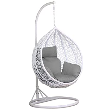 Yaheetech White Rattan Hanging Swing Chair Stand Cushion Cover 150kg
