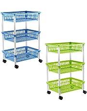 axentia Wózek kuchenny z 3 koszami, wózek na kółkach, w kolorze zielonym, niebieskim (posortowane kolory), plastik, 1 opakowanie