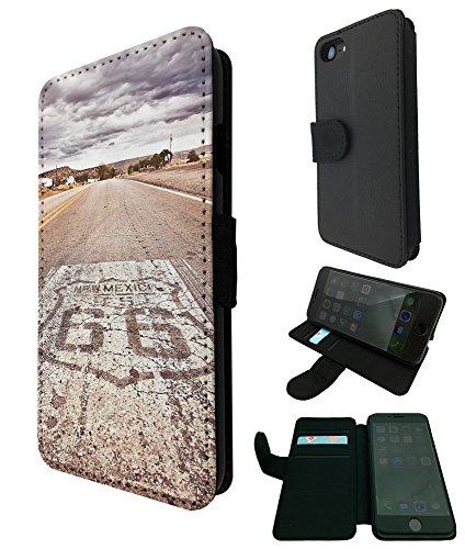 002721 - Famous Route 66 Mexico America Design iphone 5 5S / iphone SE 2016 TPU Leder Brieftasche Hülle Flip Cover Book Wallet Credit Card Kartenhalter Case