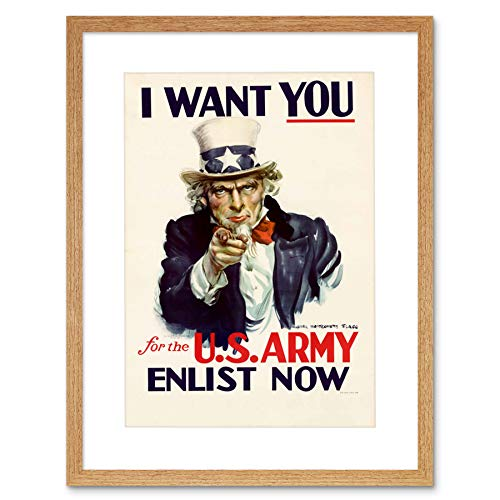 Vintage Ad Uncle Sam Us Army I Want You Stars Stripes Framed Wall Art Print