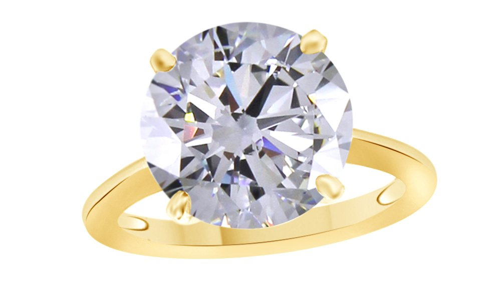Round Cut White Cubic Zirconia Anniversary Solitaire Ring In 14k Gold Over Sterling Silver (4 Carat)