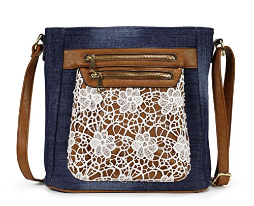 Amazon Lightning Deal 60% claimed: Scarleton Fashion Denim Crossbody Bag H174007 - Blue