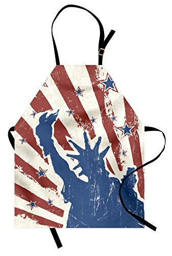 Ambesonne 4th of July Apron, Sketch Style Statue