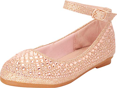 Crystal Rhinestones Apparel - Cambridge Select Girls' Round Toe Ankle Strap Crystal Rhinestone Ballet Flat (Toddler/Little Kid/Big Kid),1 M US Little Kid,Rose Gold Glitter