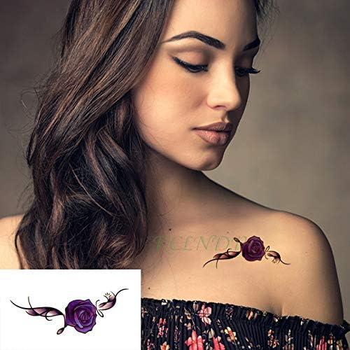 6pcs Tatuaje Impermeable Etiqueta engomada púrpura de Hoja de Flor ...