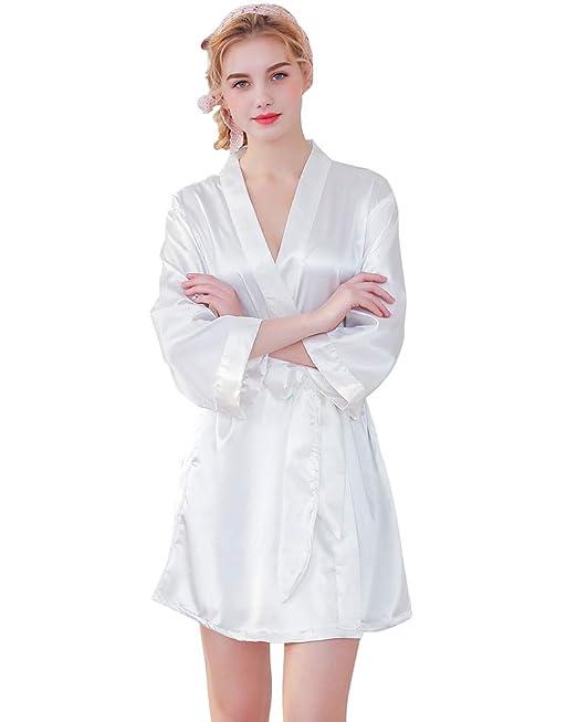 0412ed9d5e Aden Vestaglia di Raso Kimono Donna Elegante Pigiama Corta Camicie da Notte  Accappatoio Biancheria da Notte