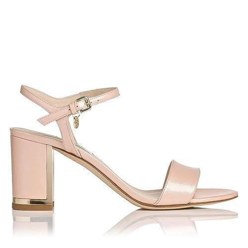b8e425bdb6a L.K. Bennett Morgan Saffiano Rose Patent Leather Block Heel Sandal - Size 37