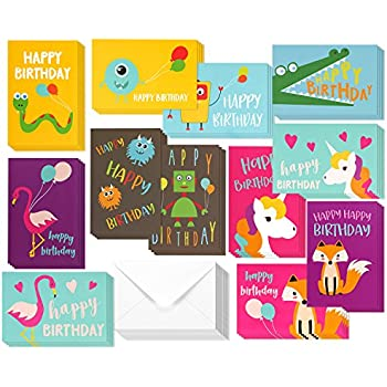 Amazon assorted 12 pack boxed animal birthday cards bulk for 48 pack children birthday cards unicorn flamingo and monster designs happy birthday greeting cards bookmarktalkfo Images