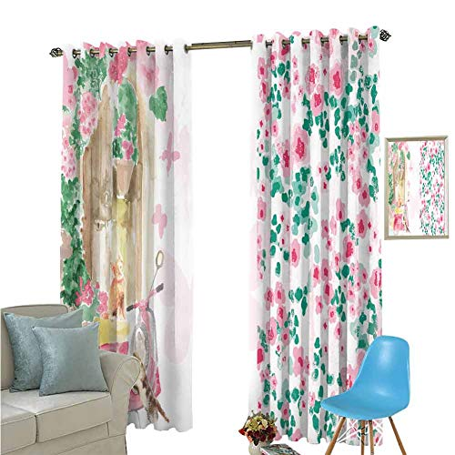 YSING Window Curtain Drape,Placement Pattern Vector Files Art Elements Illustration Botany Florals Animal Cat,Rod Pocket Curtain Panels for Bedroom & Kitchen,W84 x L108 Inch (Barclay Finishing Rods)