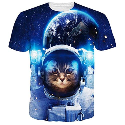 RAISEVERN Adult's Short Sleeve T-Shirt Cool 3D Print Blue Space Cat Planet Crewneck Top Tees