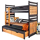 Ye Perfect Choice Triple BUNK BED Sambor Modern High Bed DRAWERS Ladder 3 Children TRUNDLE Bed Pine Wood 2 sizes (Left Hand Side, UK Single Standard)