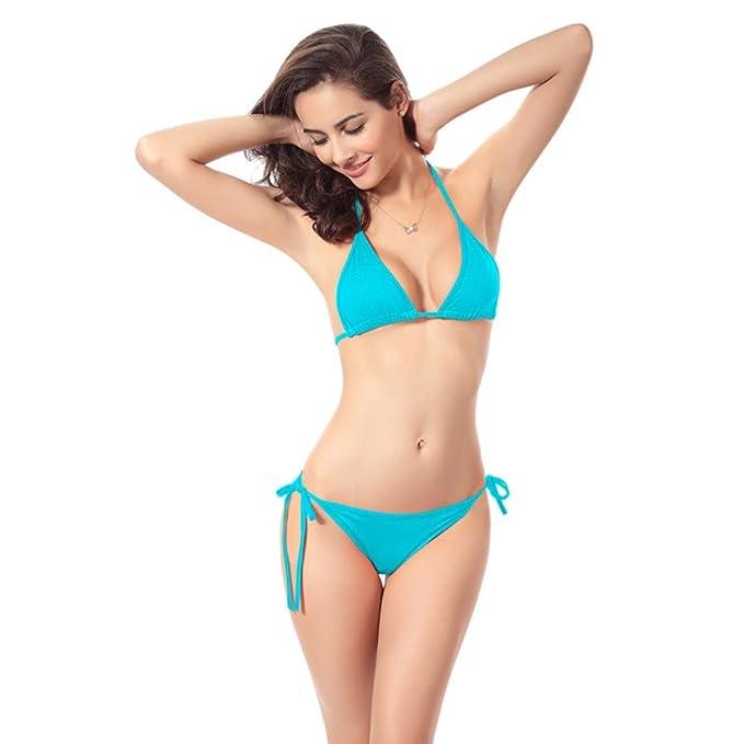 Sonnena sexy suave Bikini de dos piezas,Cinturones de cuello Cintura alta Traje de bano push up talla extra sujetador con relleno binini para prime mujer ...