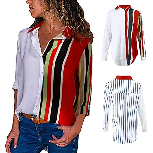 Blouses For Womens,Clearance Sale!!Farjing Womens Casual Long Sleeve Color Block Stripe Button T Shirts Tops Blouse (S, Multicolor - Charmeuse Halter Print Dress