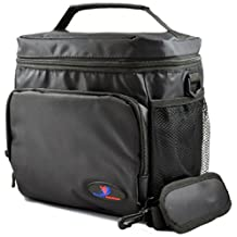 "Large Insulated Lunch Bag Double-Sewn Nylon Zipper Closures with Large Side Pockets Carry Handle and 48"" Shoulder Strap (Large, Black)"