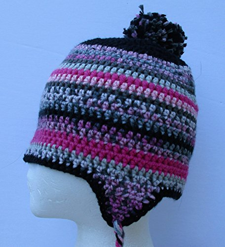 BlueBear Original Pink Camo Crochet Beanie Hat with Ear flaps and Removable Pom Pom